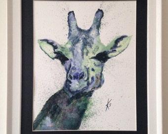 Giraffe, original watercolour, framed