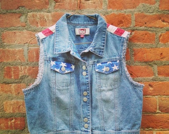 Vintage L.E.I American Flag Patriotic Genuine Denim Womens Fourth of July Vest