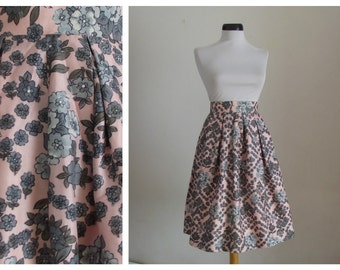 1950s Silk and Viscose  Floral Skirt / 50s Floral Printed Skirt.