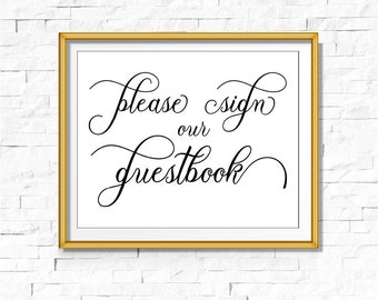 DIY PRINTABLE Black Foil Sign Our Guestbook | Instant Download | Wedding Ceremony Reception | Black Calligraphy | Party Print |