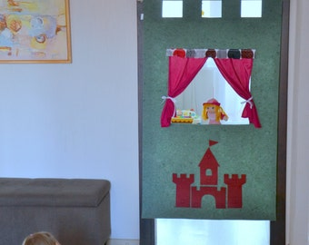 Children puppet theatre/ Doorway puppet theater/ Nursery decoration/ Prince and princess party/ Castle decal