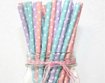 20 polka dot paper straws in different colors