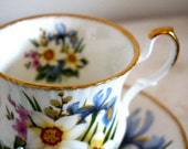 Queen's China Staffordshire English Fine Bone China Tea Cup and Saucer Spring Flowers Teacup andd Saucer perfect for garden party, high tea