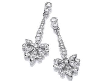 Victorian Stylised Butterfly Drop Earrings