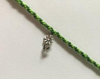 Green Friendship Bracelet. Choose Charms.