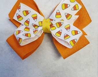 Candy Corn hairbow, Halloween   hairbow, Girls Candy Corn Hairbow, Holiday Hairbows, Girls Halloween Hairbows, Sparkle Hairbows, Fall bows