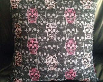 Handmade embroidered skull cushion covers