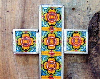 SALE Big Mexican cross multicolor ceramic tiles mounted in metal wall decor vintage look hand made