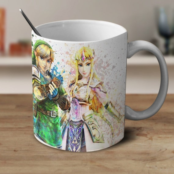 Princess Zelda and Link Mug, Legend of Zelda Mug, Zelda Mug, Zelda Watercolor Mug, Zelda Coffee mug, Zelda Cup