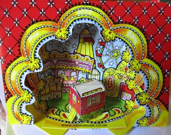 Fairground Greetings card,   ,make your own colourful 3D Diorama / theatre with showman's wagon/caravan.Blank for own message.
