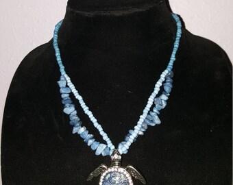 Blue Sea Turtle Beaded Necklace