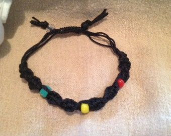 Black Macrame Bracelet with Grenadian Colored Beads