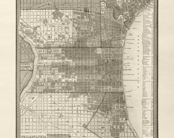 Vintage Map of Philadelphia - Circa 1849