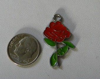Silver Enameled Red Rose Charm 1 piece V5096