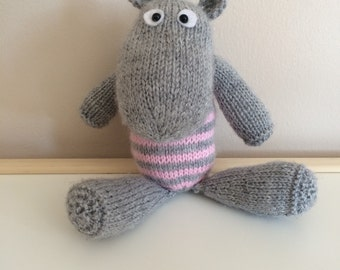 Hand knitted hippo. New baby shower gift