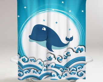 Silly Whale Shower Curtain