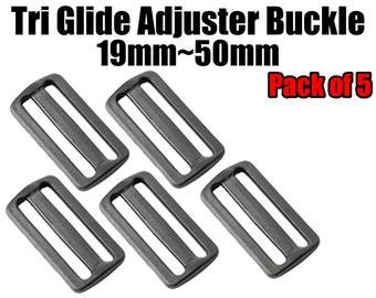5 Pcs Tri Glide Adjuster Buckle Buckle 19mm~50mm. Webbing / Purses / Lanyards / Luggage / Backpacks / Bags / Belts / Handles / Straps /Clips