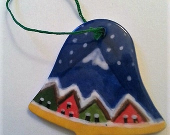 Christmas snowy village bell shaped ornament