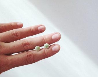 delicate green porcelain earrings hypoallergenic stainless steel