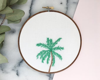 Hand Embroidered Modern Hoop Art, Palm Tree, Ready to Ship