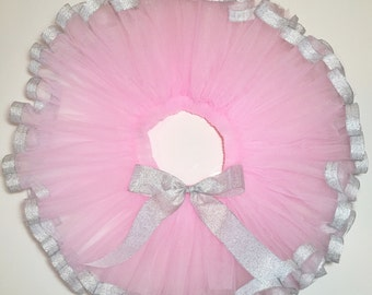 Pink and Silver Ribbon Tutu Birthday Tutu Cake Smash Tutu Newborn Photoshoot Newborn Infant Toddler Girl