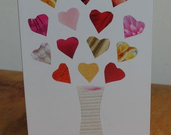 Vase with hearts collage Greetings Cards