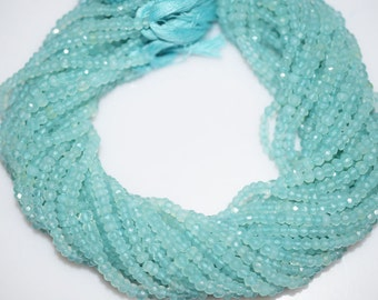 Natural Aqua Chalcedony Faceted Rondelle Beads 13 Inch Strand ,Aqua Chalcedony Rondelle Beads , 4-4.50 mm - MC284