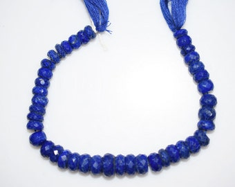 Good Quality Lapis Rondelle Beads 8 Inch Strand ,Lapis Faceted Rondelle Beads , 8-11 mm - MC315