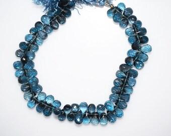 "1 Strand London Blue Topaz Faceted Tear Drop Beads-London Blue Topaz Tear Drop Briolette, 5x7 - 5x8 mm, 8"", BL371"