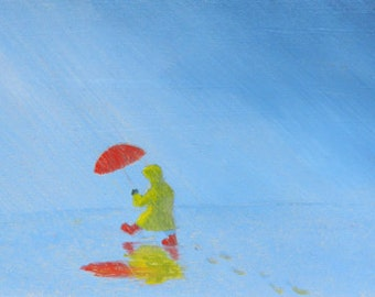 PRINT of children, rain dancing, Rain Dance, children in the rain, impressionistic paintings, red umbrella, on a beautiful CANVAS PRINT