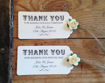 Gorgeous Personalised Wedding Favour/Party Gift Tags x 10 with Twine & Ivory Rose's
