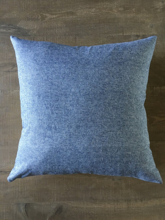 Blue Chambray and Linen pillow zipper pillow by HiveHoneyHome