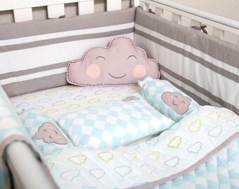 Happy Cloud-Organic Crib Bedding Set, Baby Bedding Set, Baby Blanket, Baby Bedding, Baby Crib, Cloud Crib Set, Baby Boy Bedding Set