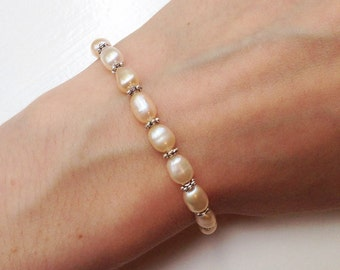Natural Freshwater Pearl Bracelet, Champagne Freshwater Pearls, Champagne Pearl Bracelet