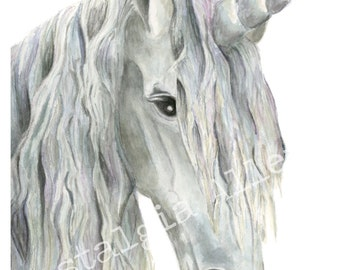 Unicorn Art Print Watercolor Unicorn Print 8x10
