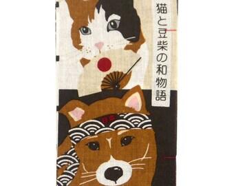 Hamamonyo Japan Story of Calico Cat and a Shiba Inu Chusen Tenugui Towel