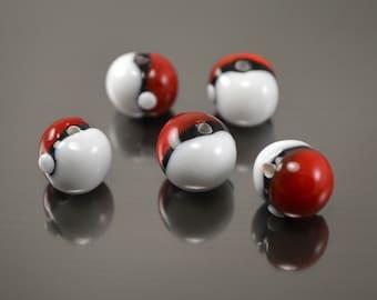 Pokeball beads, glass pokeball, lampwork beads, glass round beads, crystal pokeball, pokemon go