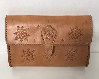 Natural Tan Leather Moroccan Embossed Clutch bag