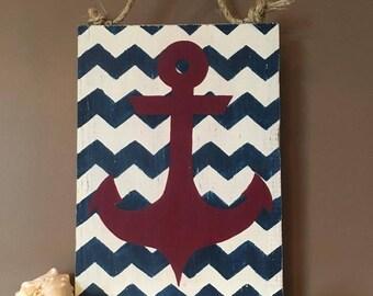 Chevron Anchor Wall Decor red navy Americana Nautical Beach boat Wood Distressed
