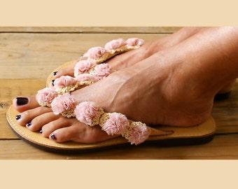 """Romantic Sandals/ Flower sandals/ Handmade sandals/ leather sandals/ Flower lace shoes/ Crocheted sandals/Lace sandals/ Flip flops/ """"AMELIE"""""""