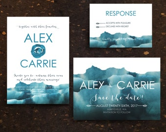 Wedding Invite Package. Invitation Download. Watercolor. Blue Ocean. Save the Date. Invite. RSVP. Download. Printable. Minimalist Wedding.