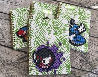 Pokemon Tall Grass Perler Bead Sprite Embellished Pokedex Notebook