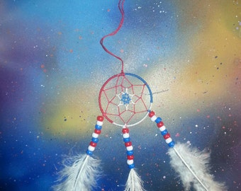 6 Point Red, White and Blue Dream Catcher