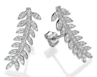 Earrings 14 k gold white diamonds 2.94 CT