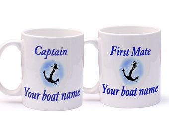 Personalised Boat Mug x2 for Narrow Boat, Yacht, boat. Captain, First Mate, Engineer