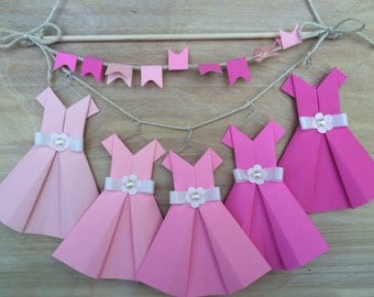 Pink Ombre Wall Hanging with Origami Dresses, Satin Bows, Pearls & Mini Pennant Banner - Girls Room Nursery Decor - Modern Shabby Chic