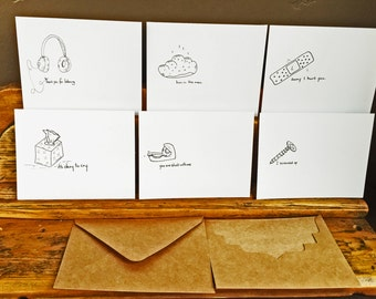 The Off Center Series - Urban Angst Card Set - 6 cards (buyers choice) -Hand Drawn, Pen and Ink, Art Print, illustration