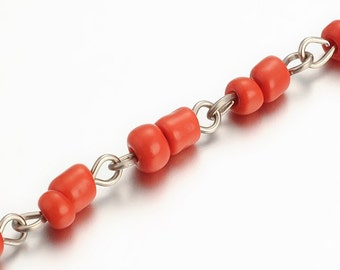 1 meter chain silver color Stud beads of Red seed - bead chain - chain silver - chain - chain seed - fancy Rosary chain