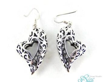 Ornate large 925 Silver Heart Earrings openwork