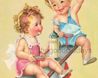 Adorable vintage style babies playing nursery room image photo scrap booking digital image print clip art